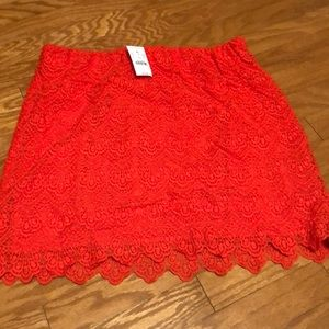 Jcrew Red lace fitted skirt